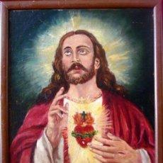 Arte: (OG0274) OLEO SOBRE CARTÓN 46X38 - FIRMADO - SAGRADO CORAZÓN DE JESÚS. Lote 33796126