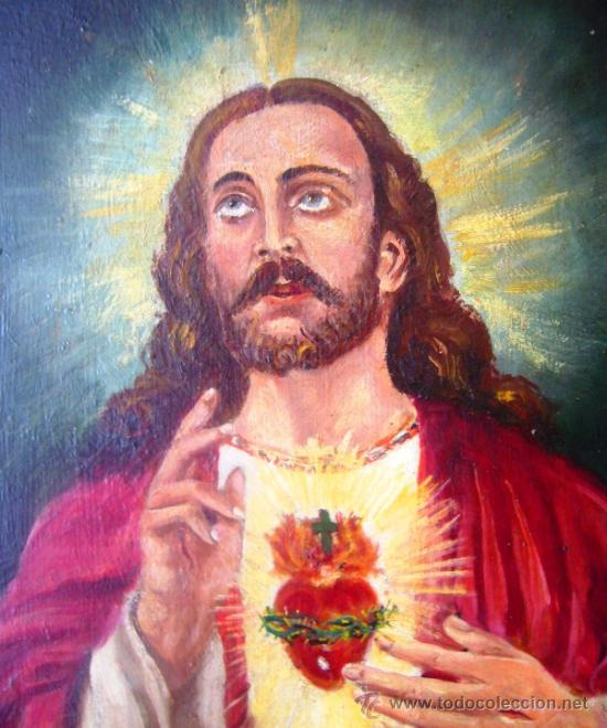 Arte: (OG0274) OLEO SOBRE CARTÓN 46X38 - FIRMADO - SAGRADO CORAZÓN DE JESÚS - Foto 2 - 33796126