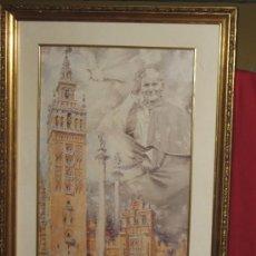 Arte: LAMINA ENMARCADA REPRESENTANDO ACUARELA DE JUAN PABLO II Y MONUMENTOS DE SEVILLA - VISITA DEL PAPA. Lote 33957864