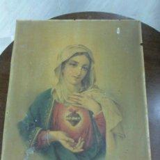 Arte: ANTIGUO GRABADO A COLOR CORAZÓN DE MARÍA. Lote 34052340