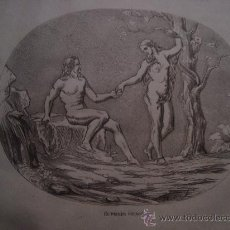 Arte: MAGNIFICO GRABADO ALTA CALIDAD, RELIGIOSO, ADAN Y EVA , EL PRIMER PECADO. 24 X 15 CM. Lote 34094386