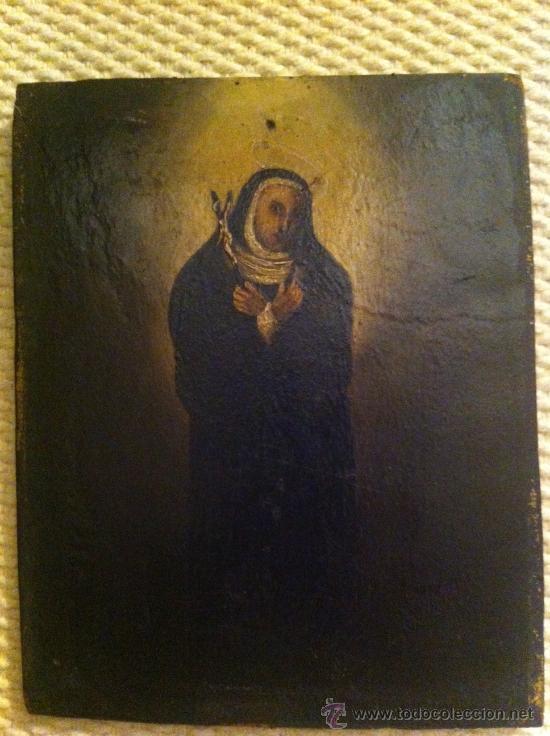 SANTA RITA - MONJA - VIRGEN - OLEO SOBRE TABLILLA SIGLO XVII (Arte - Arte Religioso - Pintura Religiosa - Oleo)