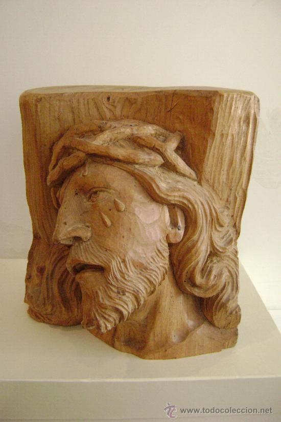 TALLA EN MADERA.CABEZA DE JESUCRISTO (Arte - Arte Religioso - Escultura)