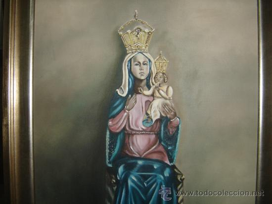 PINTURA AL OLEO. VIRGEN DE LA CABEZA. PATRONA DE ANDUJAR. PINTADA AL NATURAL SIN MANTO. 82 X 68 CTS. (Arte - Arte Religioso - Pintura Religiosa - Oleo)