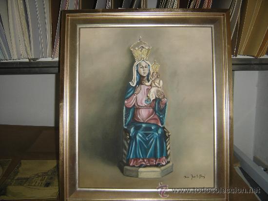 Arte: PINTURA AL OLEO. VIRGEN DE LA CABEZA. PATRONA DE ANDUJAR. PINTADA AL NATURAL SIN MANTO. 82 X 68 CTS. - Foto 2 - 34477604