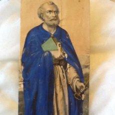 Arte: RECORTE ANTIGUO GRABADO SAN PEDRO. 25X12 CM. ILUMINADO A MANO. S XVIII /XIX.. Lote 34598457