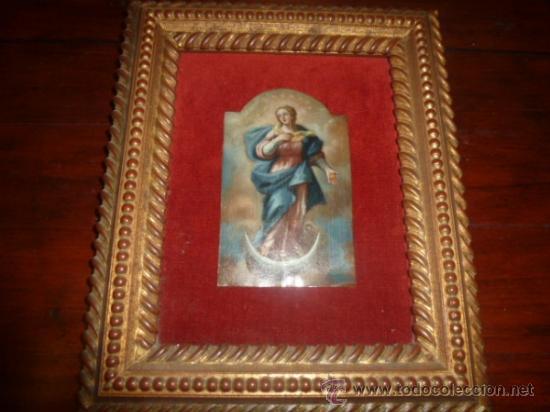 OLEO SOBRE COBRE VIRGEN INMACULADA (Arte - Arte Religioso - Pintura Religiosa - Oleo)