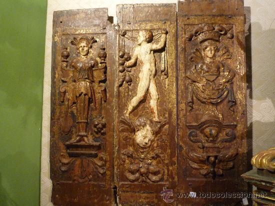 TRES TABLAS PLATERESCAS S. XVI, EPOCA CARLOS V, TALLADAS, PIEZAS INCREIBLES, SOLO PARA ENTENDIOS. (Arte - Arte Religioso - Trípticos)