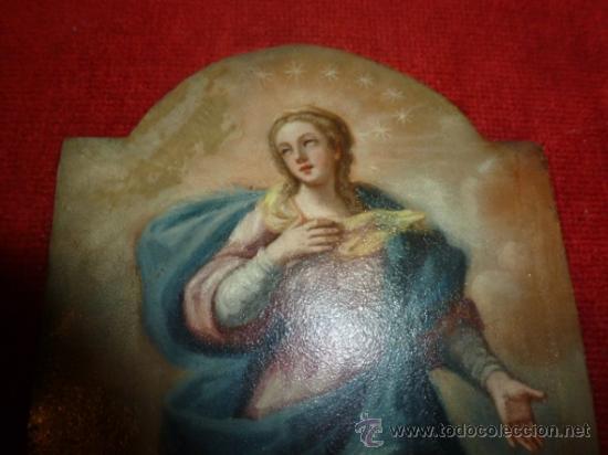 Arte: oleo sobre cobre virgen inmaculada - Foto 2 - 34645661