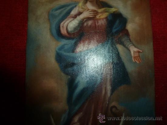 Arte: oleo sobre cobre virgen inmaculada - Foto 4 - 34645661