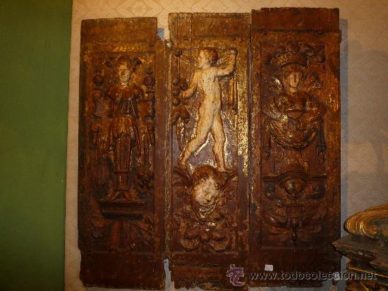 Arte: Tres tablas platerescas S. XVI, epoca Carlos V, talladas, piezas increibles, solo para entendios. - Foto 12 - 34650017
