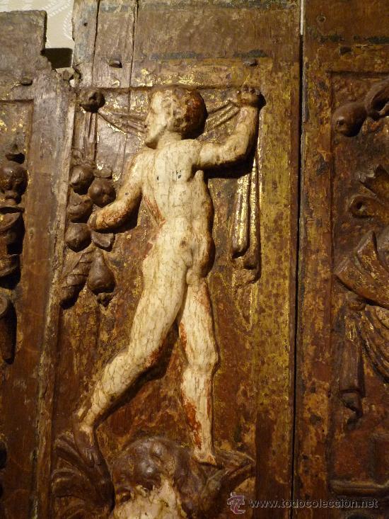 Arte: Tres tablas platerescas S. XVI, epoca Carlos V, talladas, piezas increibles, solo para entendios. - Foto 4 - 34650017