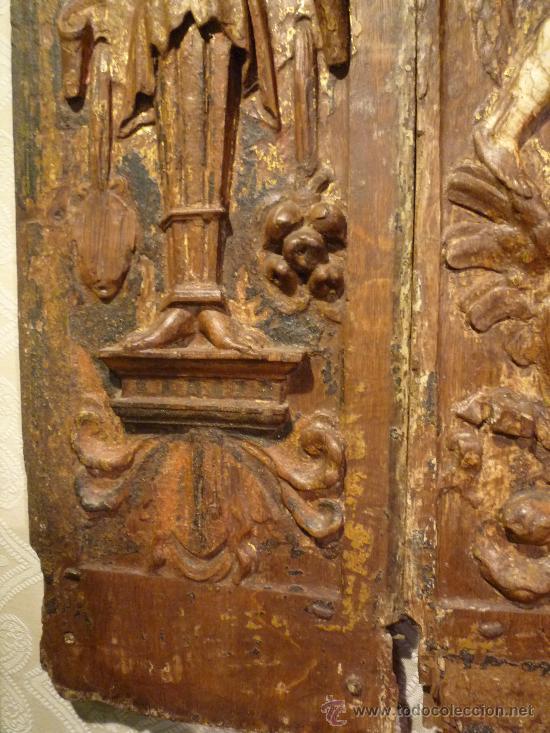 Arte: Tres tablas platerescas S. XVI, epoca Carlos V, talladas, piezas increibles, solo para entendios. - Foto 10 - 34650017