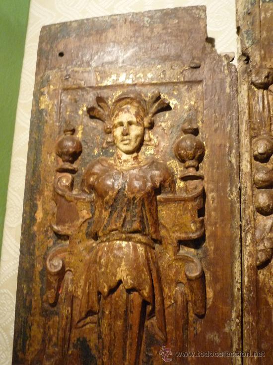 Arte: Tres tablas platerescas S. XVI, epoca Carlos V, talladas, piezas increibles, solo para entendios. - Foto 9 - 34650017