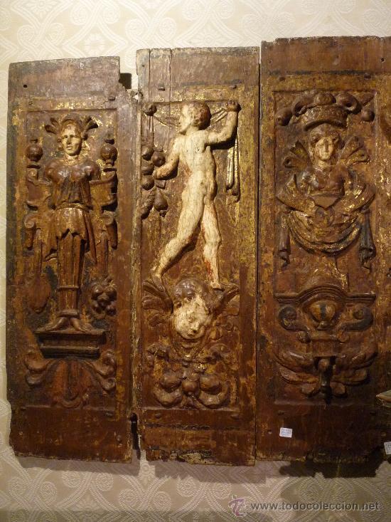 Arte: Tres tablas platerescas S. XVI, epoca Carlos V, talladas, piezas increibles, solo para entendios. - Foto 11 - 34650017