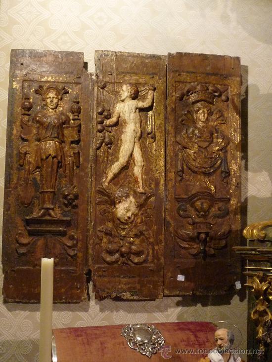 Arte: Tres tablas platerescas S. XVI, epoca Carlos V, talladas, piezas increibles, solo para entendios. - Foto 14 - 34650017