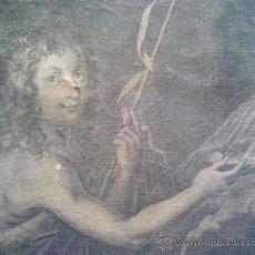 Arte: S. IOANNES BAPTISTA. GRABADO MONTADO SOBRE LIENZO CON BASTIDOR. S. XVIII. ÓXIDOS.. Lote 57643397