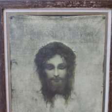 Arte: ANTIGUA LAMINA ENMARCADA: JESUCRISTO SOBRE LA SABANA SANTA - PARTE ALTA DERECHA FIRMA INSCRIPCION. Lote 34954407