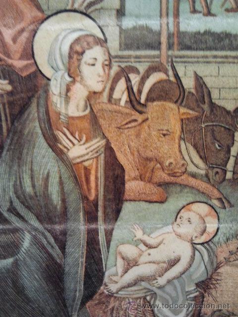 Arte: Navidad. Grabado sobre seda con marco en madera tallada y dorada. - Foto 2 - 35047468