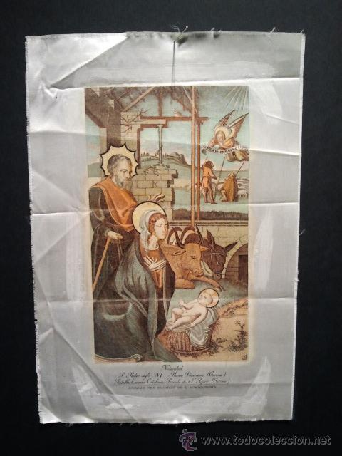 Arte: Navidad. Grabado sobre seda con marco en madera tallada y dorada. - Foto 3 - 35047468