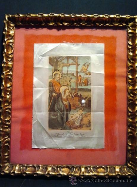 Arte: Navidad. Grabado sobre seda con marco en madera tallada y dorada. - Foto 4 - 35047468