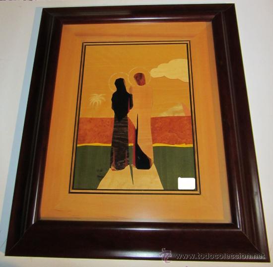 CUADRO TARACEADO JESÚS CON LA VIRGEN 63 X 53 CM (Arte - Arte Religioso - Pintura Religiosa - Otros)