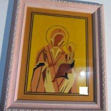 Arte: CUADRO TARACEADO EN MADERA DE VIRGEN CON NIÑO 55 X 46 CM.. Lote 35198215