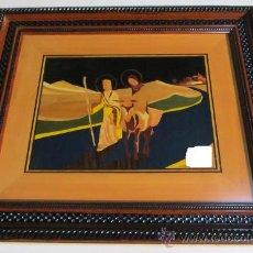 Arte: CUADRO TARACEADO EN MADERA DE LA HUIDA A EGIPTO. Lote 35198242