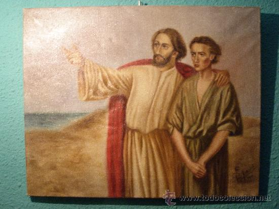 ANTIGUO CUADRO OLEO SOBRE TELA (Arte - Arte Religioso - Pintura Religiosa - Oleo)