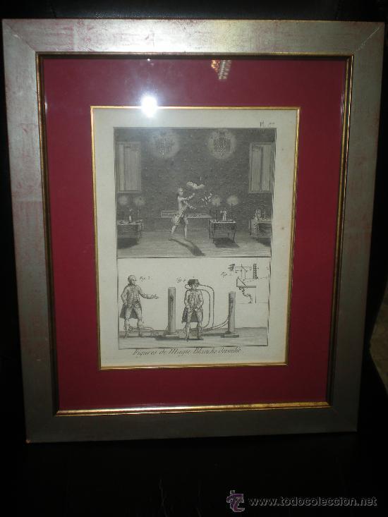 GRABADO ENMARCADO DE MAGIA BLANCA DEL SIGLO XVIII BARAJA CARTA ILUSIONISMO (Arte - Arte Religioso - Grabados)