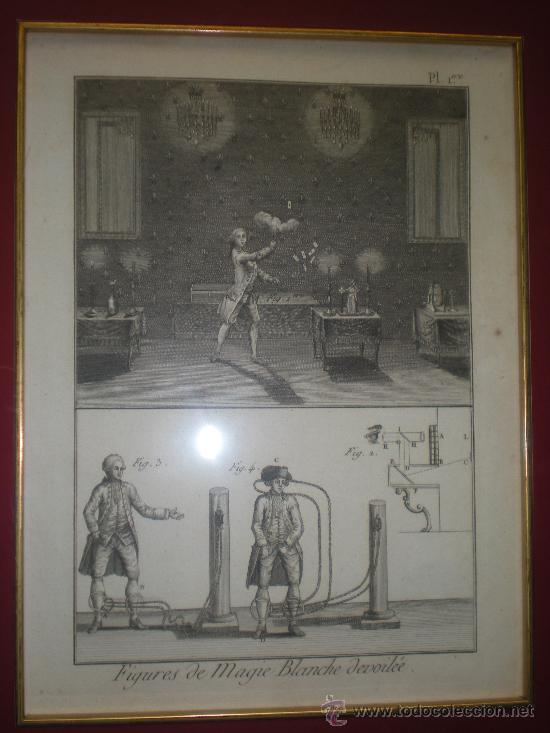 Arte: GRABADO ENMARCADO DE MAGIA BLANCA DEL SIGLO XVIII BARAJA CARTA ILUSIONISMO - Foto 2 - 35320764