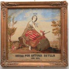 Arte: BORDADO RELIGIOSO DE 1870, MARCO: 58X59 CM.. Lote 35326630