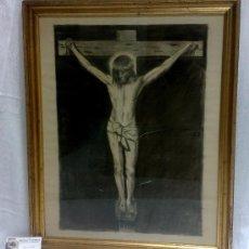 Arte: .-CRUCIFICADO.- DIBUJO A CARBONCILLO. SIGLO XIX-XX. Lote 35334357
