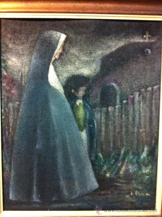 OLEO MONJA CON NIÑO (Arte - Arte Religioso - Pintura Religiosa - Oleo)