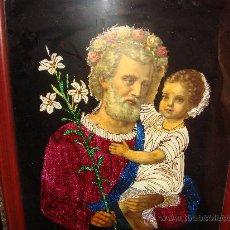 Arte: ANTIGUO CUADRO DE SAN JOSÉ CON EL NIÑO JESÚS / AÑOS 50-40 / VESTIDOS DE PAPEL. Lote 36135941