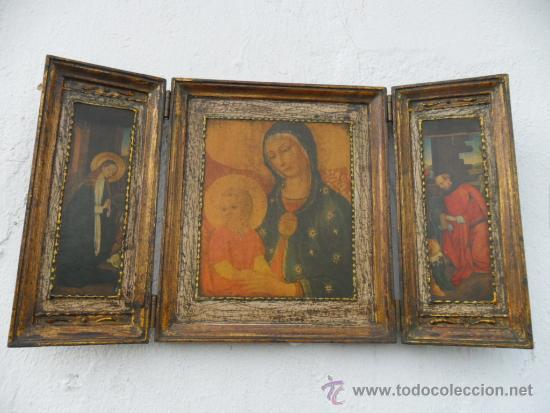 TRIPTICO DE MADERA DORADA (Arte - Arte Religioso - Trípticos)