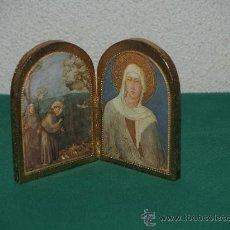 Arte: DIPTICO CON IMAGENES RELIGIOSAS SOBRE MADERA Y REVESTIDO DE PAN DE ORO. Lote 36462366