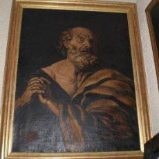 Arte: OLEO SOBRE LIENZO. PINTURA RELIGIOSA. SAN PEDRO. S.XIX. MARCO DE MADERA, ESTUCO Y PAN DE ORO.. Lote 36476977