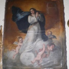 Arte: OLEO SOBRE LIENZO, INMACULADA CONCEPCION, FIRMADO POR JOSE Mª GUTIERREZ HURTADO, 1856. Lote 36542938