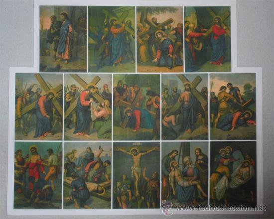 Arte: Via crucis impreso sobre lienzo. Copia de originales realizadas por Seiber - Foto 4 - 36594619