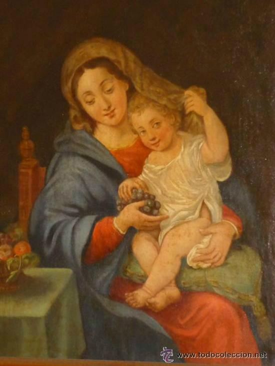 LA VIRGEN DE LAS UVAS .OLEO SOBRE TELA SIGLO XVIII . FOTOS (Arte - Arte Religioso - Pintura Religiosa - Oleo)