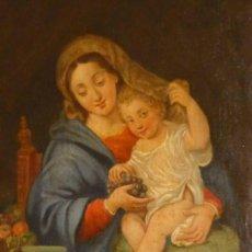 Arte: LA VIRGEN DE LAS UVAS .OLEO SOBRE TELA SIGLO XVIII . FOTOS. Lote 36662110
