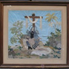 Arte: BORDADO DE UNA PIEDAD ENMARCADO, SIGLO XIX. MARCO: 75X71 CM. BORDADO: 55X50 CM. Lote 36816348