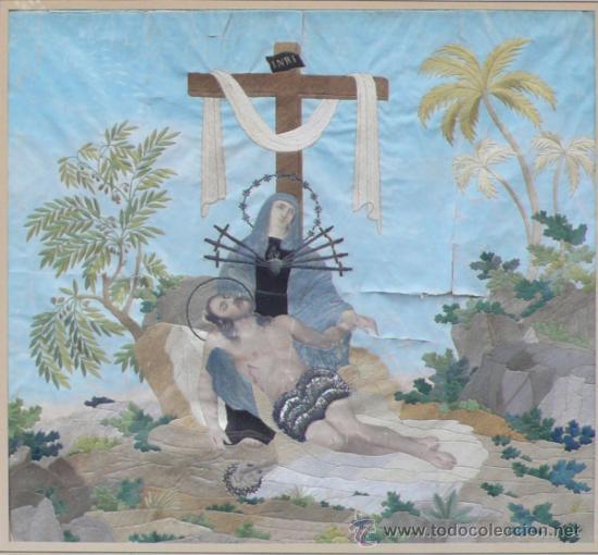 Arte: bordado de una piedad enmarcado, siglo XIX. Marco: 75x71 cm. bordado: 55x50 cm - Foto 4 - 36816348