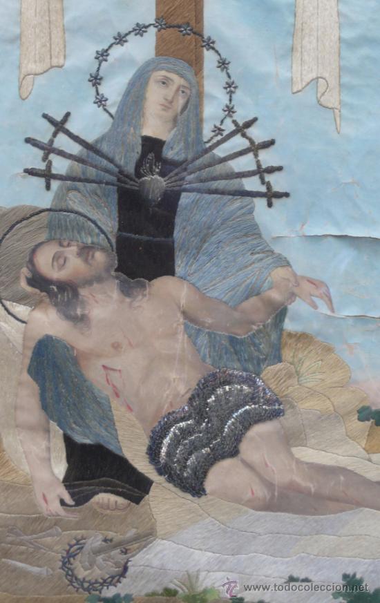 Arte: bordado de una piedad enmarcado, siglo XIX. Marco: 75x71 cm. bordado: 55x50 cm - Foto 6 - 36816348