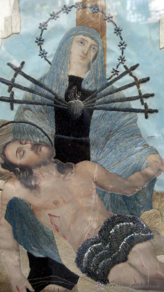 Arte: bordado de una piedad enmarcado, siglo XIX. Marco: 75x71 cm. bordado: 55x50 cm - Foto 2 - 36816348