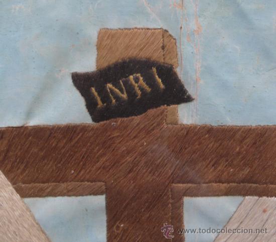 Arte: bordado de una piedad enmarcado, siglo XIX. Marco: 75x71 cm. bordado: 55x50 cm - Foto 7 - 36816348