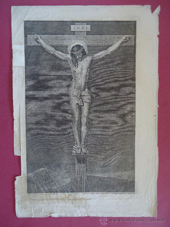 GRABADO SIGLO XVIII 28X18CM. 'CRISTO DE VELAZQUEZ' J.A.SALVADOR CARMONA (Arte - Arte Religioso - Grabados)