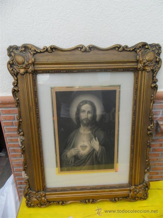 LAMINA ANTGUA RELIGIOSA Y MARCO (Arte - Arte Religioso - Pintura Religiosa - Otros)