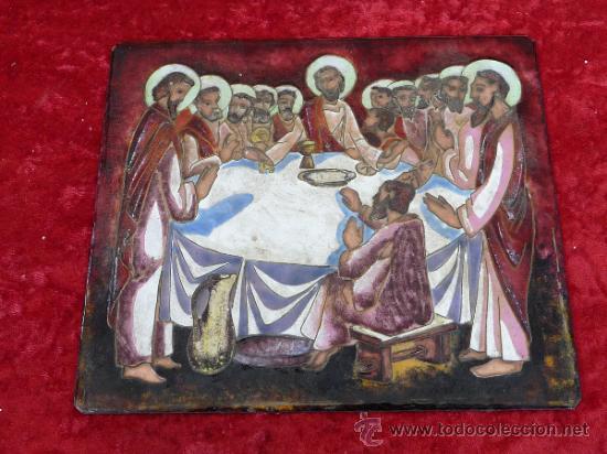 ANTIGUA PLACA ESMALTADA DE LA SANTA CENA. (Arte - Arte Religioso - Pintura Religiosa - Otros)